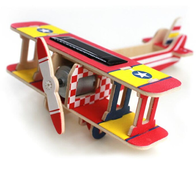 Solar powered 3D wooden airplane