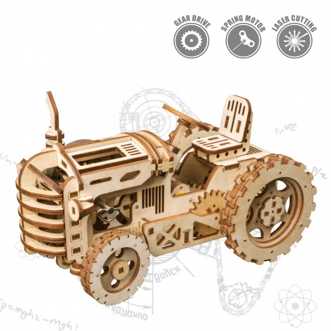 3D Wooden Mechanical Tractor