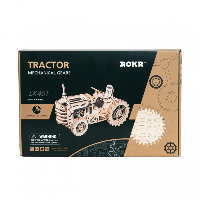 3D Wooden Mechanical Tractor