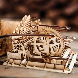 3D Wooden Marble Run Water Wheel Parkour