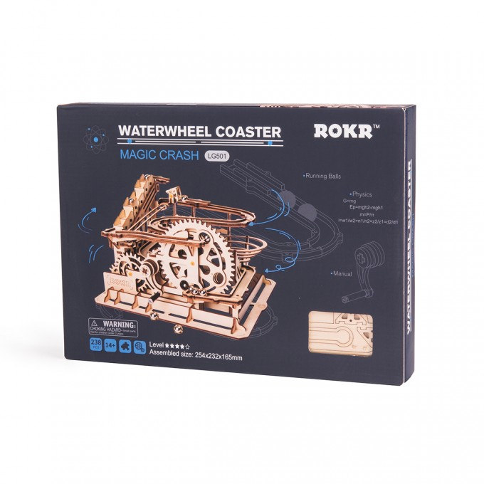 3D Wooden Marble Run Water Wheel Parkour