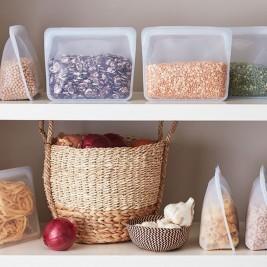 Reusable Silicone Food Storage Bag, Stand-up, midi
