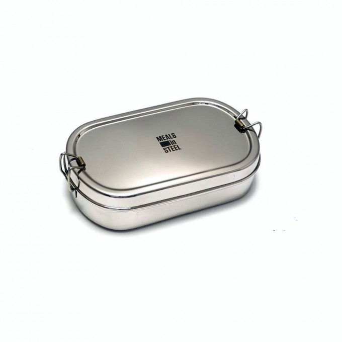 Oval Stainless Steel Lunchbox with Snackbox