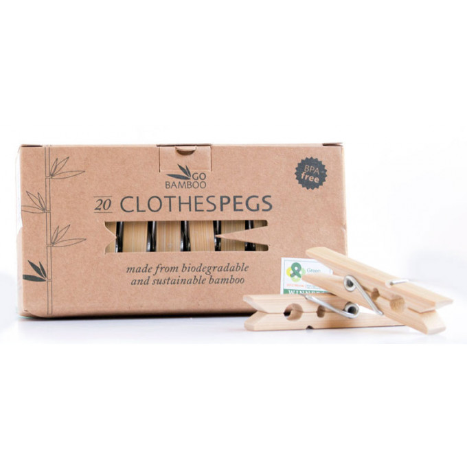 Bamboo Clothes Pegs, Pack of 20