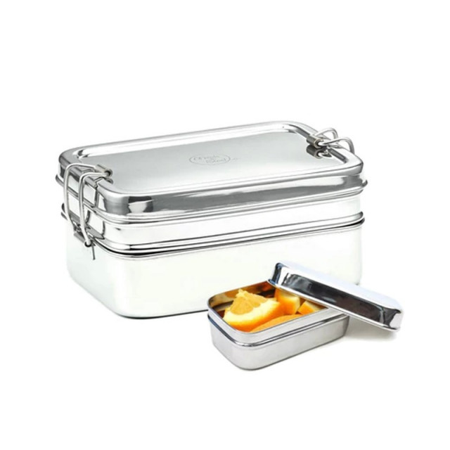 Twin Layer rectangular Stainless Steel lunchbox with Snackbox