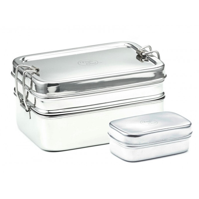 Jumbo Twin Layer rectangular Stainless Steel lunchbox + Snackbox