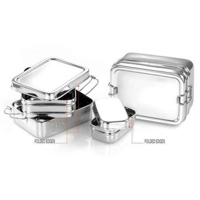 Large Twin Layer rectangular Stainless Steel lunchbox + Snackbox