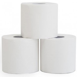 Box of naked toilet paper, no wrapping